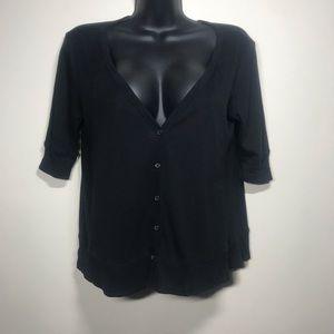 GAP Short Sleeve Button Up V-Neck Cardigan, Size S